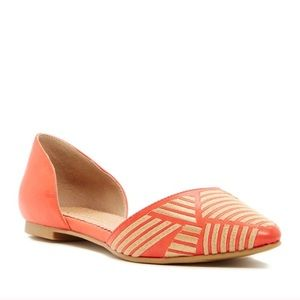 Restricted Embroidered Point Toe Orange Flats